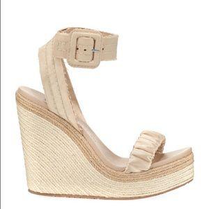 NWT Pedro Garcia Teodora Satin Ankle Strap Wedge Sandal